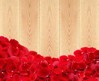 Beautiful red rose petals on wooden planks texture Royalty Free Stock Image