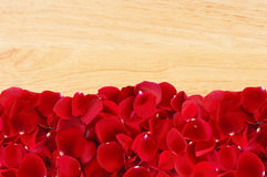 Beautiful red rose petals on wooden texture Stock Photography