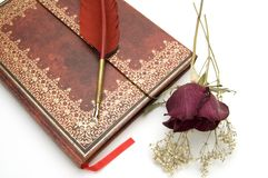 Antique Book with Fountain Pen and Dried Roses royalty free stock image