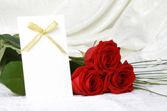 Beautiful Red Roses And Invitation Card Stock Images
