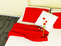 Beautiful red roses on a bed Royalty Free Stock Photography