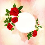 Beautiful red roses decorated on a free field can be used as background. Or as an invitation card free space for your text Royalty Free Stock Image
