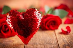 Beautiful red roses and heart royalty free stock images