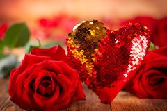 Beautiful red roses and heart stock photos