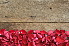Beautiful red roses petals  on wooden. Valentine's Day,  anniversary etc background. Stock Photography