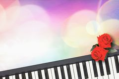Beautiful red roses on piano keyboard with colorful romance. Beautiful red roses on piano keyboard with colorful romance sweet bokeh background stock image