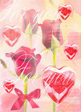 Beautiful red roses on stem on festive background. Valentine's Day card. Red roses with red hearts. Can be used as valentine card, invitation card for wedding Royalty Free Stock Image