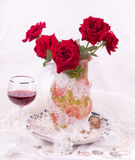 Beautiful red roses in vase Stock Images