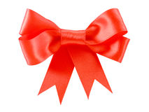 Beautiful red satin gift bow Royalty Free Stock Images