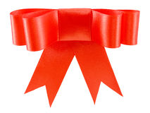 Beautiful red satin gift bow Royalty Free Stock Image