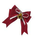 Beautiful red satin gift bow Stock Photos