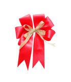 Beautiful red satin gift bow, isolated on white. Background stock photos