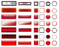 A beautiful red selection of website buttons in different shapes. A colorful red selection of buttons to add to your website on the internet Stock Images
