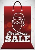 Red Shopping Bag with Santa`s Face for Christmas Sales, Vector Illustration vector illustration
