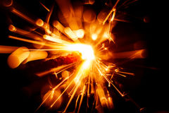 Beautiful red sparkler candle. Royalty Free Stock Photos