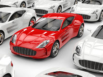 Beautiful red sports car. In focus Stock Photos