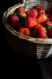 Beautiful red strawberries. Some fresh red strawberries in a basket royalty free stock photo