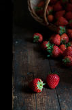 Beautiful red strawberries. Some fresh red strawberries on the desk royalty free stock photos