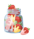 Beautiful red strawberry cream in white chocolate summer vector illustration. Stock Photography