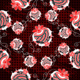 Beautiful red strawberry on a dark background geometric seamless pattern Royalty Free Stock Photo