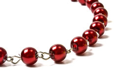 Beautiful red string of beads closeup royalty free stock photos