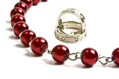 Beautiful red string of beads and rings stock image