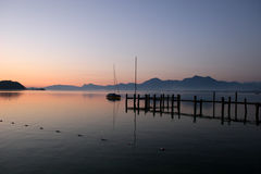 Beautiful red sunrise at lake Chiemsee Royalty Free Stock Photo