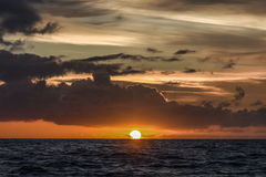 Beautiful red sunrise in the northern summer sea Royalty Free Stock Photo