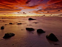 Beautiful Red Sunset oil and gas town Malaysia Royalty Free Stock Photography