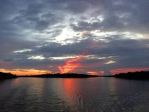 Beautiful Red Sunset on the Amazon River: Brazil stock photos