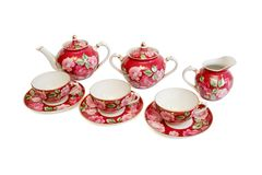 Beautiful red tea service isolated Royalty Free Stock Photography