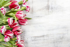 Beautiful red tulips and carnations on wooden table Stock Image