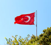 Beautiful red Turkish flag Royalty Free Stock Photos