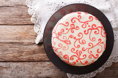 Beautiful red velvet cake close up on the table. horizontal top Stock Image