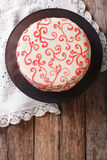 Beautiful red velvet cake close up on the table. vertical top vi Stock Photo