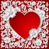 Beautiful  red and white heart frame with 3d paper cut out flowers. Beautiful vintage red and white heart frame with 3d paper cut out flowers. Vector Stock Image