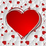 Beautiful red and white heart frame with 3d paper cut out hearts. Vector illustration royalty free illustration