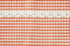 Beautiful red and white tablecloth. Royalty Free Stock Image