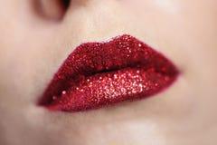 Beautiful red woman lips make up Stock Photos