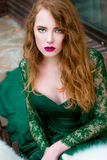 Beautiful redhair girl like princess Stock Images