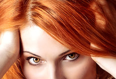 Beautiful redhair woman close up style portrait Royalty Free Stock Photography