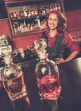 Beautiful redhead barmaid Royalty Free Stock Photos