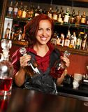 Beautiful redhead barmaid Stock Image