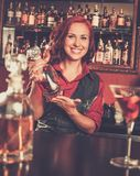 Beautiful redhead barmaid Royalty Free Stock Images