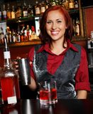 Beautiful redhead barmaid Royalty Free Stock Photo