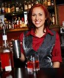 Beautiful redhead barmaid Royalty Free Stock Photo