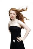 Beautiful Redhead in a Black Dress (1) Royalty Free Stock Photos