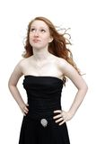 Beautiful Redhead in a Black Dress (2) Stock Images