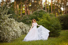 Beautiful redhead Bride in fantastic wedding dress in blooming garden. Royalty Free Stock Photography