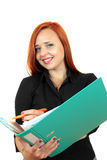 Beautiful redhead business woman with binder Stock Photos